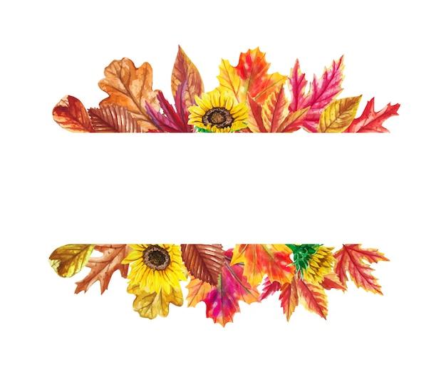 Foglie di autunno dell'acquerello, cornice di girasoli. Vettore Premium
