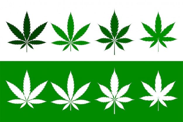 Foglie di cannabis marijuana erbacce impostate in stile piatto Vettore gratuito