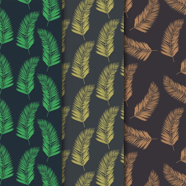 Foglie di cocco seamless pattern Vettore Premium