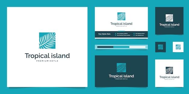 Foglie di palma. concetto di design astratto per agenzie di viaggio, resort tropicali, hotel sulla spiaggia. modello di progettazione di logo di vacanze estive. Vettore Premium