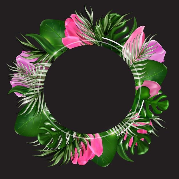Foglie e fiori esotici dell'insegna tropicale sul nero Vettore Premium