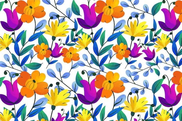 Foglie esotiche e fiori loop pattern di sfondo Vettore gratuito