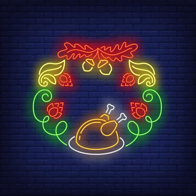 Foglie, ghiande, coni di luppolo e insegna al neon di corona di tacchino arrosto Vettore gratuito