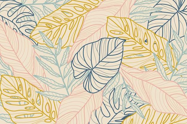 Foglie tropicali con sfondo pastello Vettore gratuito