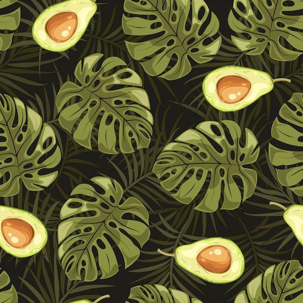 Foglie tropicali e modello di avocado di frutta. Vettore Premium