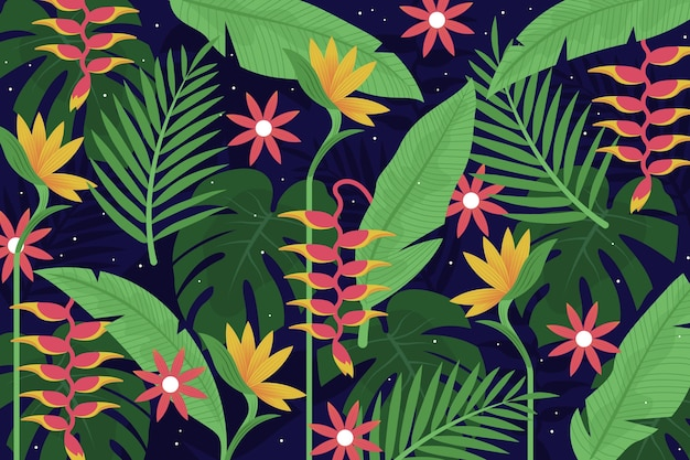 Foglie tropicali per il concetto di carta da parati zoom Vettore gratuito