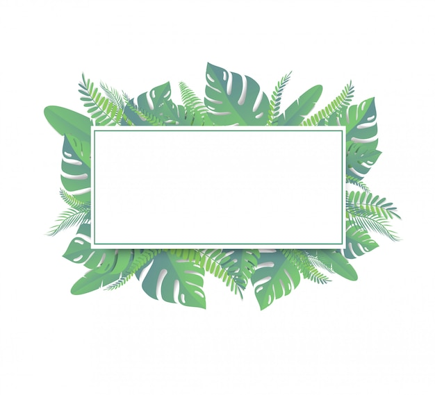 Foglie tropicali stile di taglio della carta Vettore Premium