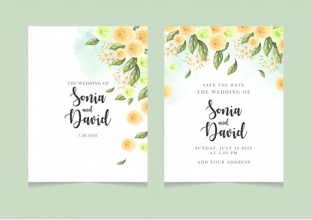 Foglie verdi felici dei fiori gialli dell'invito della partecipazione di nozze Vettore Premium