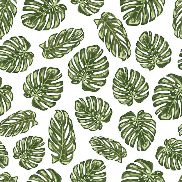 Foglie verdi sfondo pattern Vettore gratuito
