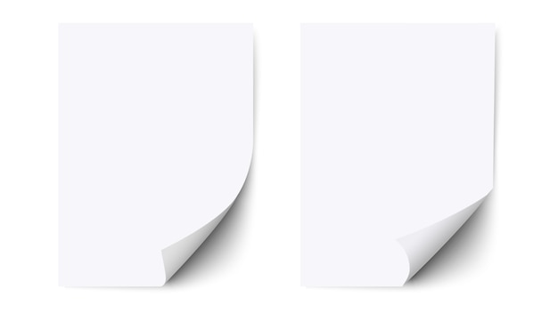 Foglio bianco di carta con angolo arricciato e ombra, carta Vettore Premium
