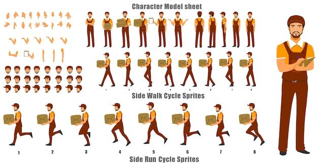 Foglio del modello di carattere del personaggio del corriere con ciclo di camminata e sequenza di animazione del ciclo di esecuzione Vettore Premium