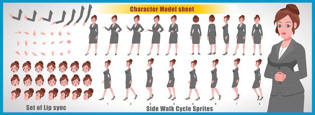 Foglio del modello di carattere della ragazza con animazioni del ciclo di camminata e sincronizzazione labiale Vettore Premium