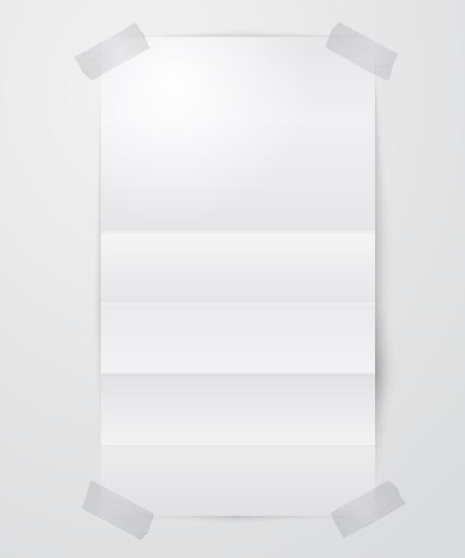 Foglio di carta bianco piegato con nastro adesivo Vettore gratuito