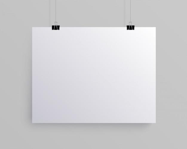 Foglio di carta orizzontale bianco bianco, mock-up Vettore Premium
