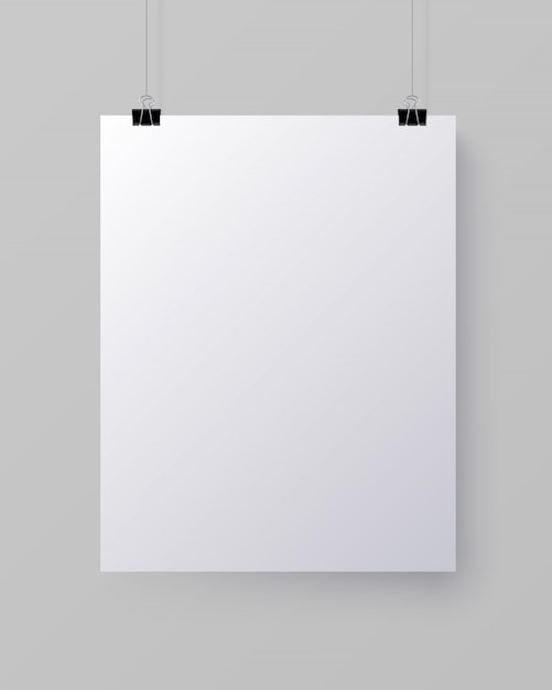 Foglio di carta verticale bianco bianco, mock-up Vettore Premium