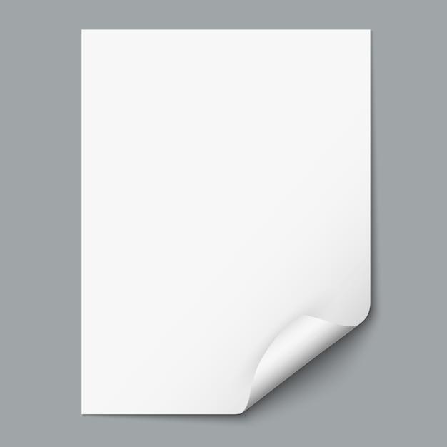 Foglio di carta vuoto con angolo arricciato Vettore Premium