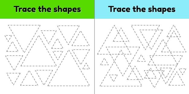 Foglio di lavoro di tracciamento educativo per bambini scuola materna, scuola materna ed età scolare. traccia la forma geometrica. linee tratteggiate triangolo. Vettore Premium