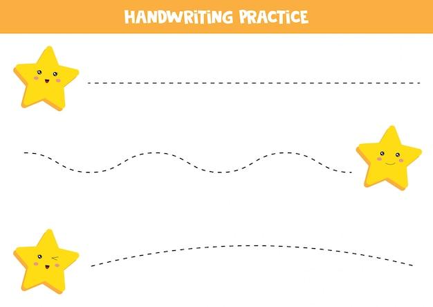 Foglio di lavoro educativo per bambini in età prescolare. pratica della scrittura a mano. traccia le linee con le stelle Vettore Premium
