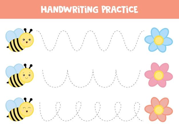 Foglio di lavoro educativo per bambini. tracciare le linee. pratica della scrittura a mano. ape e fiore. Vettore Premium