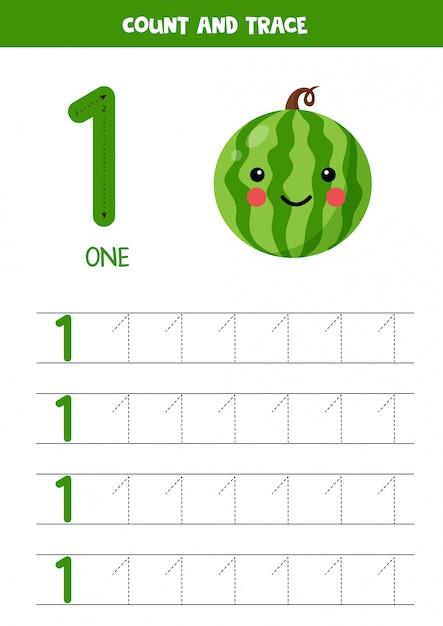 Foglio di lavoro per l'apprendimento dei numeri con l'anguria kawaii carina. numero 1. Vettore Premium