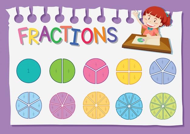 Foglio di lavoro per la formazione delle frazioni matematiche Vettore gratuito
