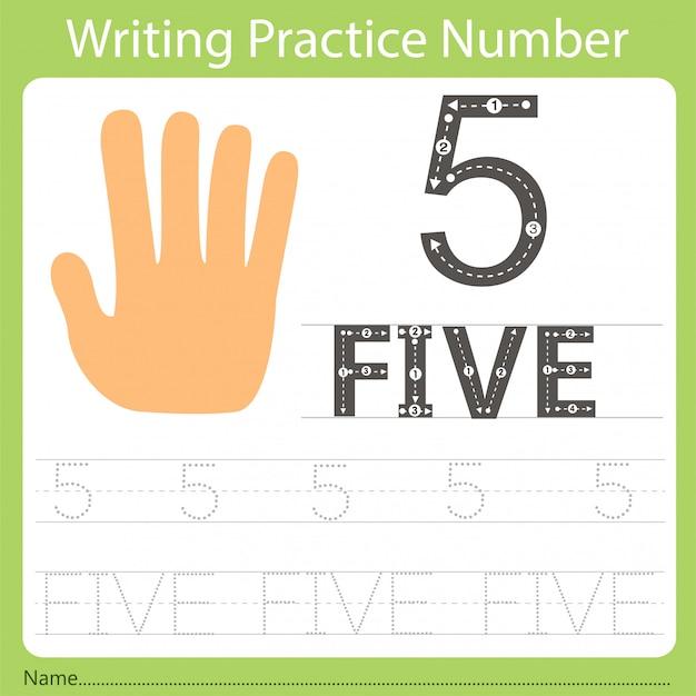 Foglio di lavoro pratica di scrittura numero cinque Vettore Premium