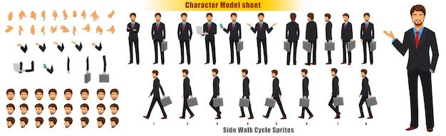 Foglio di modello del personaggio dell'uomo d'affari con il foglio di camminata foglio di sprite di animazione Vettore Premium