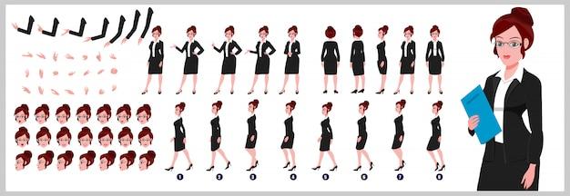 Foglio di modello di personaggio femminile dell'avvocato con animazioni del ciclo di camminata e sincronizzazione labiale Vettore Premium