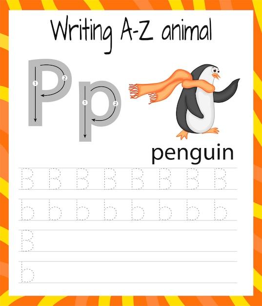 Foglio di pratica della scrittura a mano. scrittura di base. gioco educativo per bambini. imparare le lettere dell'alfabeto inglese per bambini. lettera da scrivere p Vettore Premium