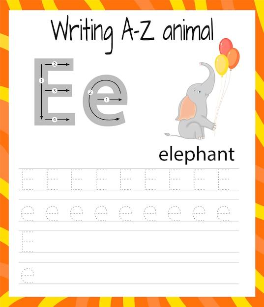 Foglio di pratica della scrittura a mano. scrittura di base. imparare le lettere dell'alfabeto inglese Vettore Premium