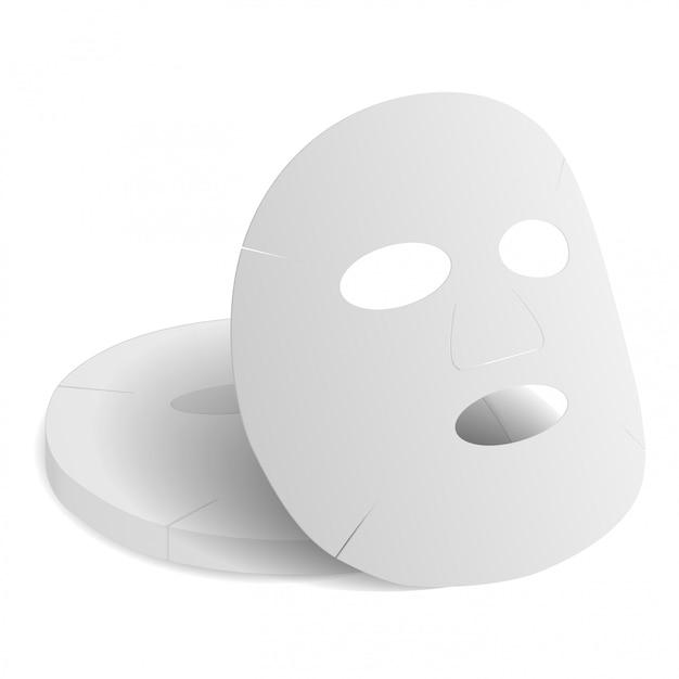 Foglio maschera per il viso. mockup 3d del prodotto collagene di bellezza Vettore Premium