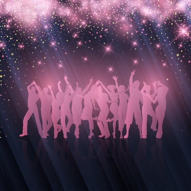 Folla di partito su sfondo stellato Vettore gratuito