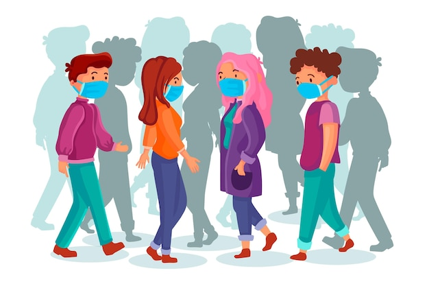 Folla di persone che indossano maschere per il viso all'aperto Vettore gratuito