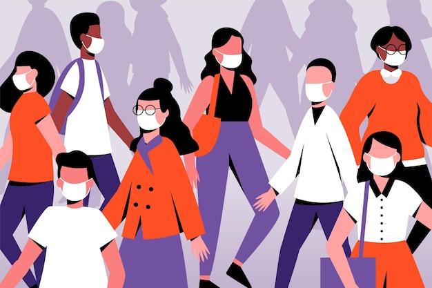 Folla di persone che indossano maschere per il viso Vettore gratuito