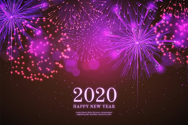Fondo 2018 del nuovo anno dei fuochi d'artificio realistici nel nero Vettore gratuito