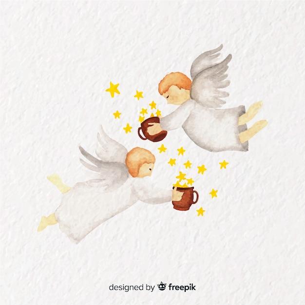 Fondo adorabile delle coppie di angelo di natale dell'acquerello Vettore gratuito