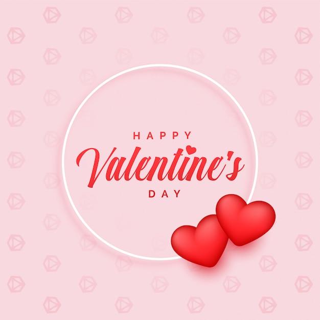 Fondo adorabile di giorno di biglietti di s. valentino con due cuori 3d Vettore gratuito