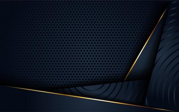 Fondo astratto 3d scuro moderno con forma circolare e dorata forma. Vettore Premium