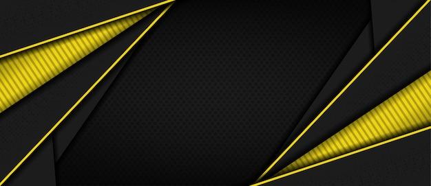 Fondo astratto 3d scuro moderno con forma di linea gialla Vettore Premium