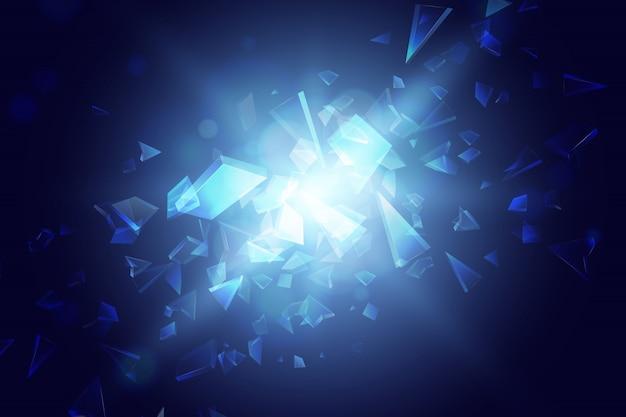 Fondo astratto blu di esplosione del poligono Vettore Premium