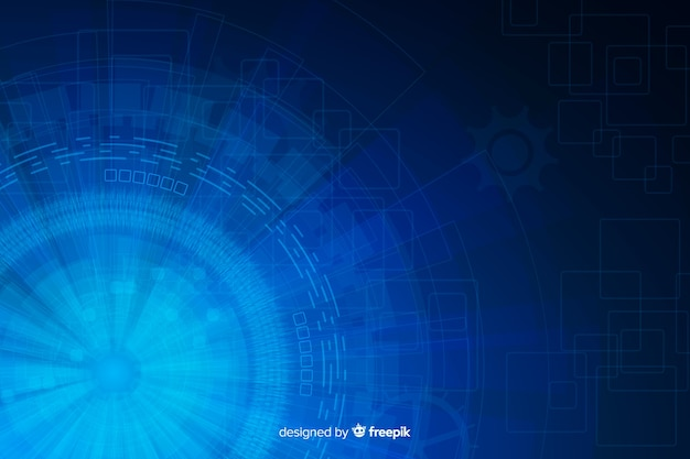 Fondo astratto blu di tecnologia del hud Vettore gratuito