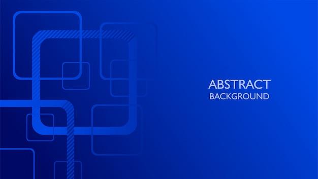 Fondo astratto collegato di forma quadrata nel colore blu Vettore Premium