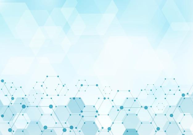 Fondo astratto del blu della molecola del modello di esagoni Vettore Premium