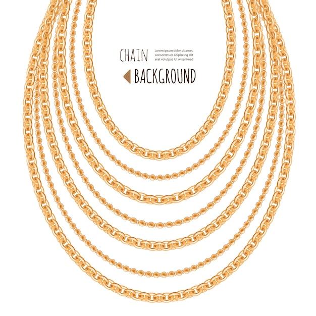 Fondo astratto della collana delle catene dell'oro Vettore Premium