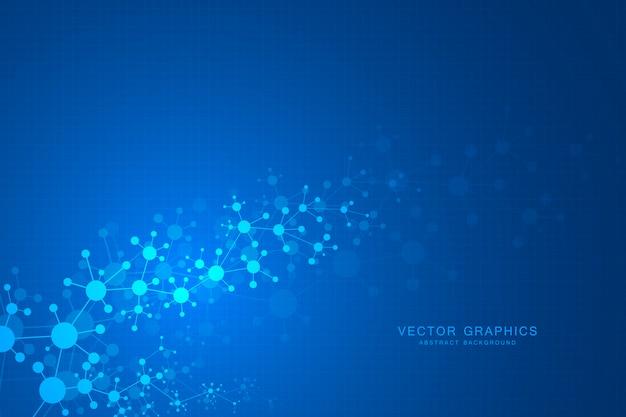 Fondo astratto delle molecole, composti genetici e chimici Vettore Premium
