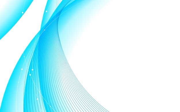 Fondo astratto di bianco dell'elemento della curva della linea blu. Vettore Premium