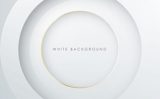 Fondo astratto di bianco di strato del cerchio 3d Vettore Premium