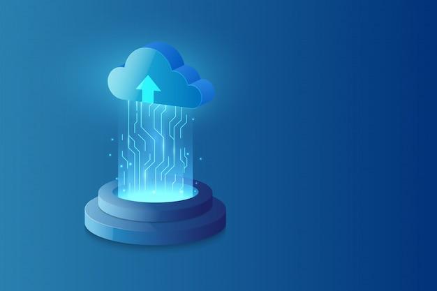 Fondo astratto di fi di sci del sistema di tecnologia della nuvola Vettore Premium