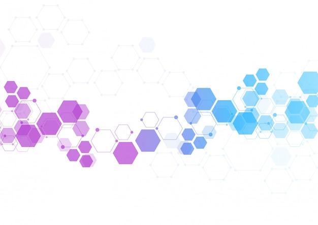 Fondo astratto di tecnologia della struttura della molecola Vettore Premium