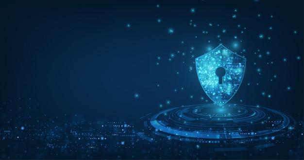 Fondo astratto di tecnologia digitale di sicurezza meccanismo di protezione e illustrazione di segretezza del sistema. Vettore Premium
